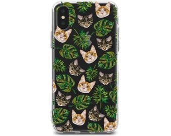 cat iphone case 7 cats tropical leaves iphone x cat case iPhone 10 case iphone cat case 8 iPhone case iphone 8 cat case iPhone X iPhone8
