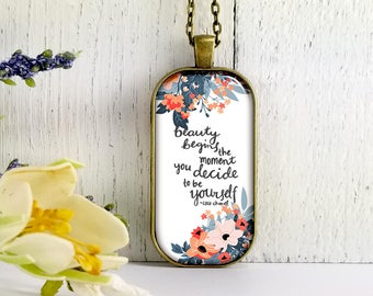 Beauty Begins When You Decide To Be Yourself- Coco Channel Quote-Large Rectangular- Glass Bubble Pendant Necklace