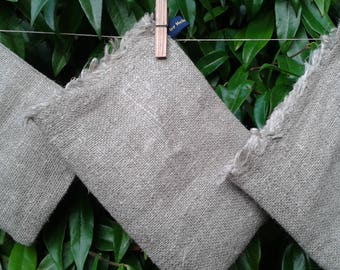 Wash / bath / exfoliating mitt - handmade from 100% hemp / linen - available in small, medium and large sizes