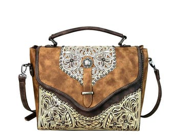 PFRMW604-8662 Montana West Concho Collection Top Handle Crossbody w/ matching wallet