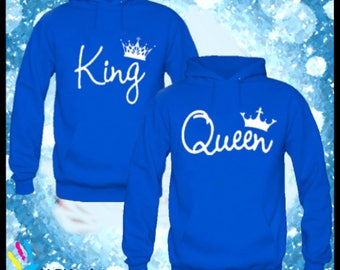 KING AND QUEEN Hoodies. Couple Sweaters- King and Queen. King Hoodie - Queen Hoodie. King and Queen. Matching Shirts.