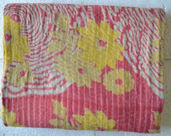 Reversible Kantha Vintage Quilt Handmade Cotton Indian Blanket Throw Bedding G-37