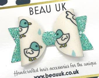 Duck fabric & glitter Medium hair bow clip headband hair accessories