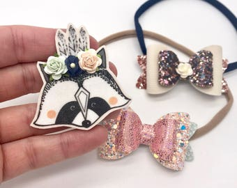 Raccoon floral crown hair clip and glitter leather bow set nylon headband hair accessories