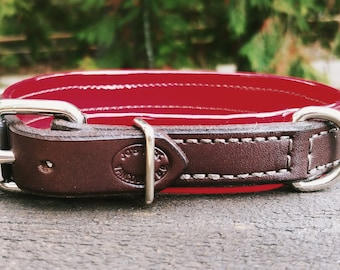 Pet Collar- Chocolate brown with red vinyl
