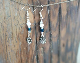 Silver Dangle Flower Earrings with Blue and White Beads