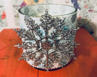 Silver Snow Flake  Hand-Poured Soy Wax Candle