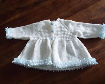 White With Blue Lace Baby Jacket Matinee Coat Size 6-9 Months