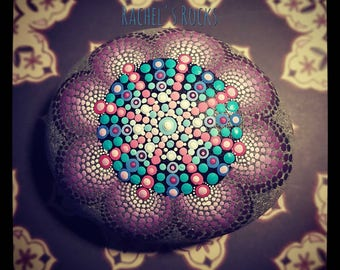 Hand painted stone.dotted mandala flower