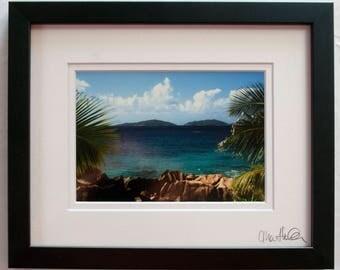 Framed 5x7 print: Grande Soeur and Petite Soeur Islands from La Digue, Seychelles