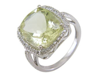 10K White Gold Cushion Cut Lemon Quartz Ring, Size 7