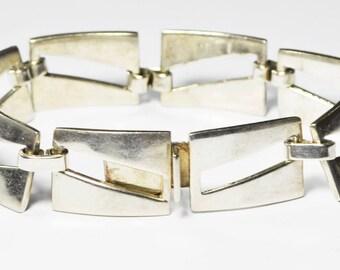 "Sterling Silver Bernice L Goodspeed Mexico Rectangle Link Bracelet 15mm 8"""