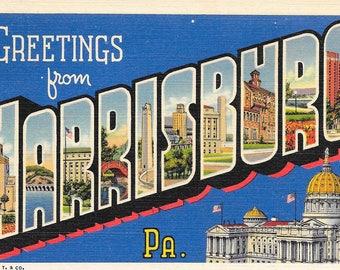 Harrisburg Postcard  / Vintage Large Letters Postcard Harrisburg Pennsylvania Posted 1938