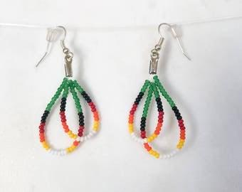 Dangle hoop earrings, Beaded earrings, handmade jewelry, Double hoop of green, red, yellow seed beads, Bohemian, gypsy, Native American