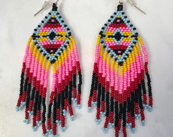 Beaded Earrings, Dangle and drop earrings, Handmade earrings, Shoulder dusters, Bohemian style, gypsy style, Native American, Seed beads