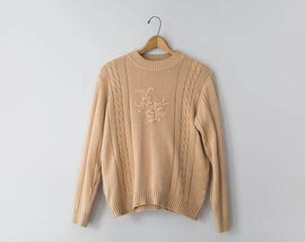 Vintage Tan Sweater with Flower Embroidery // Women's Size Medium Soft Sweater // Haband! Sweater