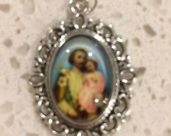st Joseph and the child Jesus with leather strap and your choice of birthstone
