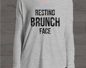 Resting Brunch Face, Ladies' Flowy Long Sleeve Tee, Funny Shirt, Yoga Shirt