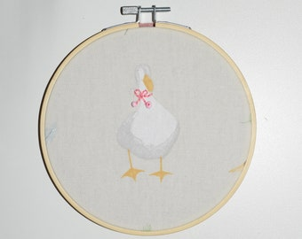 Embroidery Hoop - Birthday gift - Goose art- Baby Girl Present - Bow embroidery - Handmade - Goose gift - Personalised art - Housewarming
