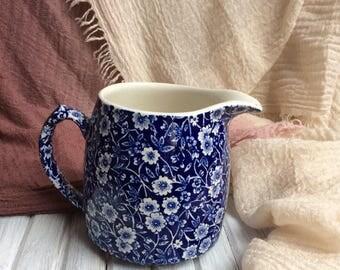Calico Burleigh jug. Vintage Blue and White Jug.
