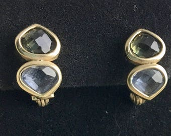 """Vintage Monet Clip On Earrings, signed, faceted stones, 3/4"""" x 1/2"""", 1980's"""