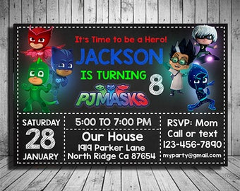 PJ Masks Invitation Instant Download, Pj Masks Invitation Download, Pj Mask Birthday Invitation, PJ Masks Invite