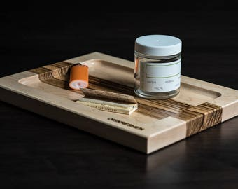 Maple & Zebrano Rolling Tray