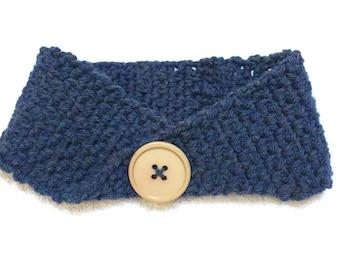 Blue Crochet Headband