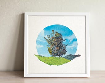 Studio Ghibli: Howl's Moving Castle Illustration 5x5 Fine Art Print
