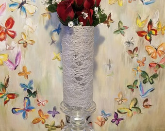 Lace and Glittered Tulle, Glass Vase, Wedding, Centerpiece vases, Wedding decorations,Wedding candle, Wedding favors, Home Decor
