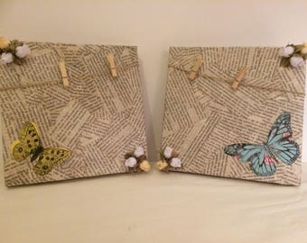 Canvas Washing Line Photo Holders. Repurposed, decoupaged, handcrafted canvases.