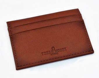 Personalised Slim Leather Wallet Monogrammed