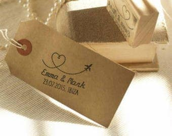 Wedding Abroad Personalised Custom Rubber Stamp, Wedding Stamp
