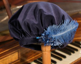 Regency Style Beret/Tam - THE HARRIET Navy cotton velvet