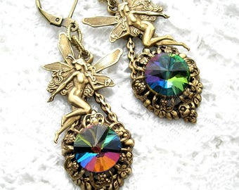 Rainbow Fairies - Victorian Style Earrings - Vitrail Swarovski Rivoli and Antiqued Brass- Morning Glory Designs
