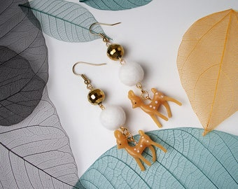 FUN Baby Reindeer Pom-Pom Gold Earrings For Holiday Party Special Occasion