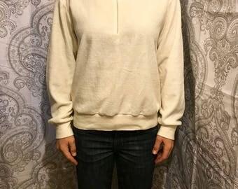 Cream Colored Vintage Velour Sweatshirt