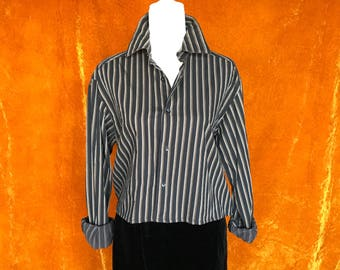 Crop Top, Repurposed Blouse, Women's Medium, Black and Brown Stripes, Long Sleeve Button Up