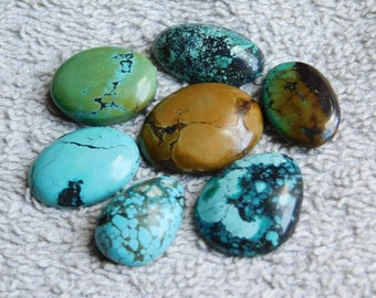 Lot ! Tibetan Turquoise loose gemstone Excellent cabochons gemstone 100%natural gemstone smooth polish handmade 155.15cts, 7 Pieces.