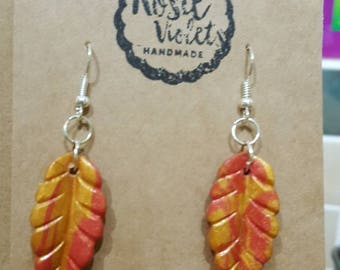 Red and gold polymer clay drop earrings