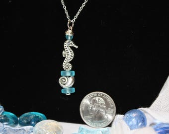 Sea glass, Seahorse and Seashell necklace