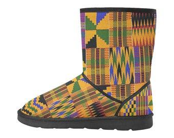 Kente Print Custom High Top Snow Boots