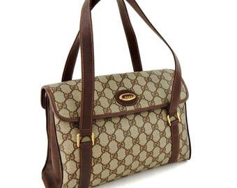 Authentic Vintage Gucci Web GG Logo Canvas Leather Shoulder Bag
