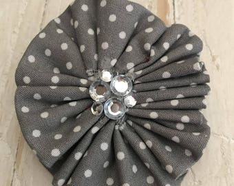 Fabric Flower Clips with Crystal Rhinestones