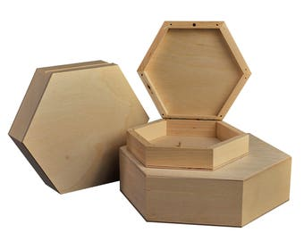 Set of 3 Hexagonal, plain, wooden boxes. Great for storage, decorating, decoupage