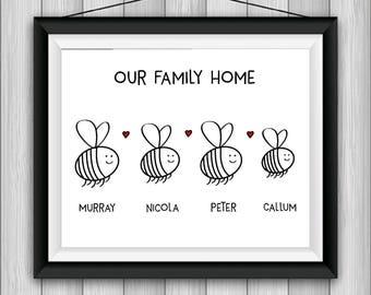 Bee Print | Gepersonaliseerd afdrukken | Familie Print | Huis opwarming van de aarde Gift | Verjaardag cadeau | Aangepaste afdrukken | Bruiloft cadeau | Tuinieren Gift
