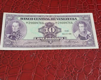 Banco Central De Venezuela 10 BOLIVARES 1990  bank note