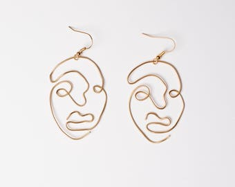 Gold Wire Abstract Face Earrings