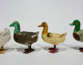 4 Composition Ducks - Christmas or German Putz Figurines - 3 Marked Italy - Very Good Condition in White, 2 Mallard, and Tan