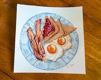 Breakfast Painting / Food Painting / bacon, eggs, and toast / 10x10